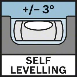 整平範圍3° 自動整平± 3°
