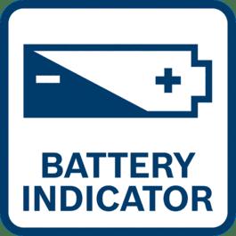 電量指示燈顯示剩餘的電池充電量