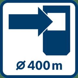 搭配接收器的工作範圍直徑高達400 m